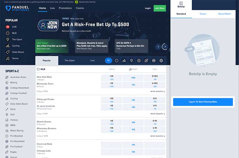 FanDuel online betting login for New Jersey