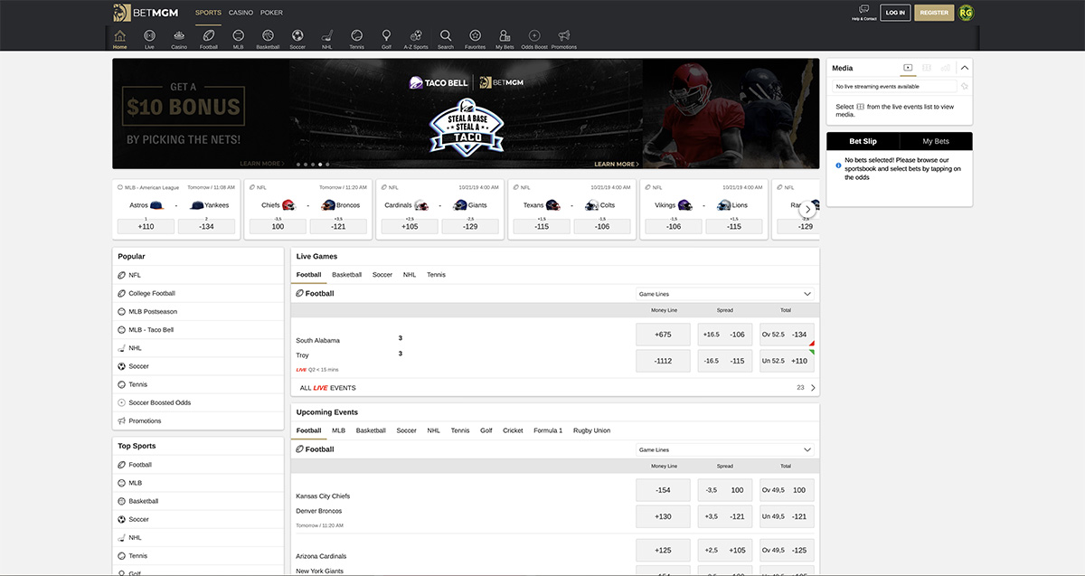 PlayMGM Sportsbook Screenshot